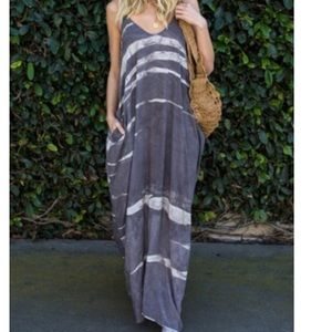 Gray Stripe Spoon-neck Maxi Dress With Sling